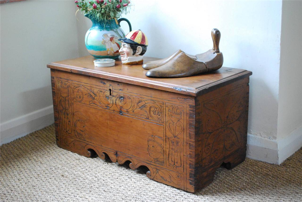 Unusual Rare Carved Vintage Elm Not Pine Box Chest Coffee Table Trunk Ebay