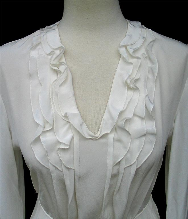 T Tahari By Elie Tahari Ivory Silk Potter Ruffled Blouse