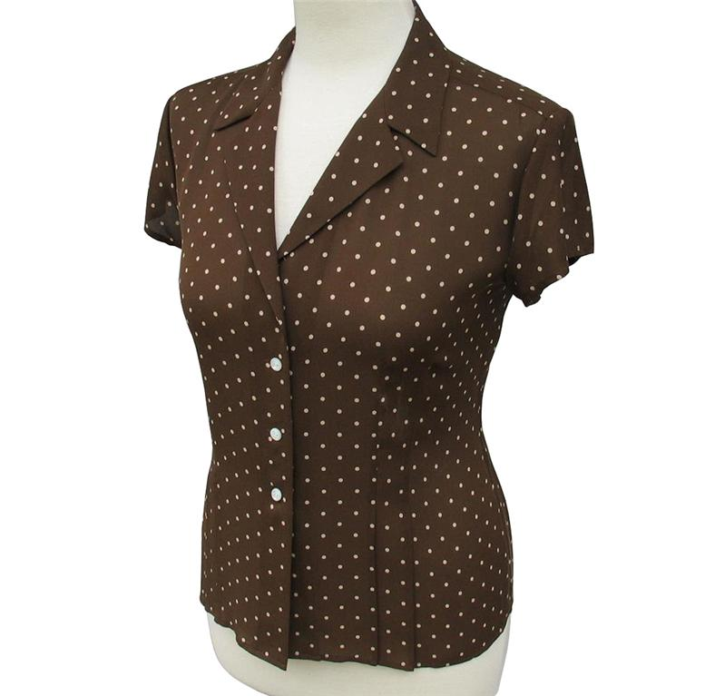 Details about JONES NEW YORK • Brown Polka Dot 100% Silk Blouse