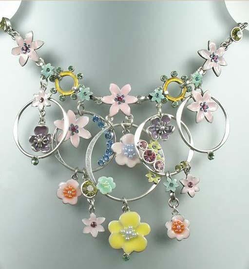 Pilgrim Danish Design Pastel Floral Swarovski Crystal Amp Enamel Necklace 138 Ebay