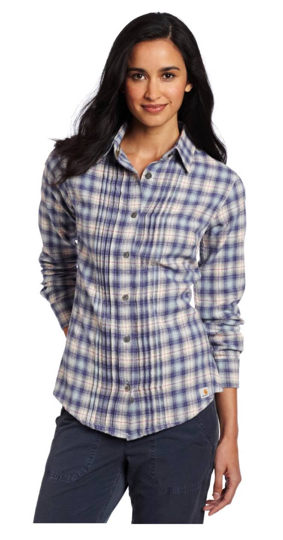 Carhartt  U2022 100030 Patriot Blue Irvine Plaid Flannel Shirt Top Blouse  U2022 Small 4  6