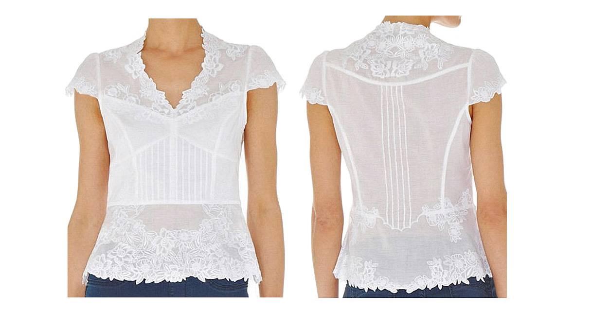 Karen Millen White Cotton Cutwork Peplum Top Blouse Tq104