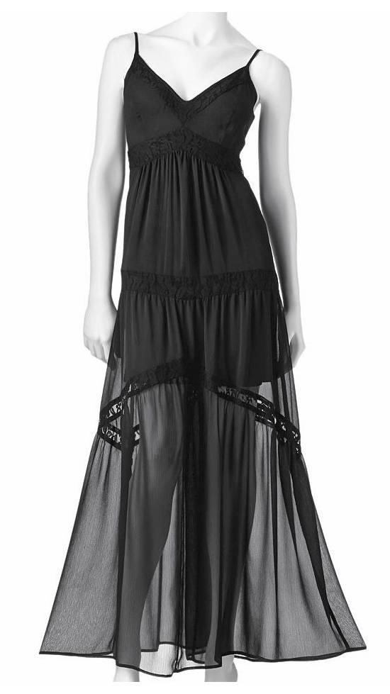 Details About Love Haight Kohls  E  A Black Chiffon Lace Maxi Dress