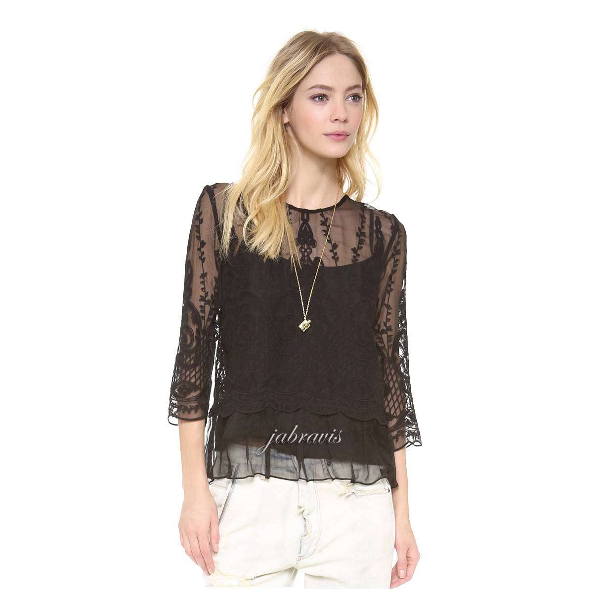 Dolce Vita Black Embroidered Silk Chiffon Macbeth Top