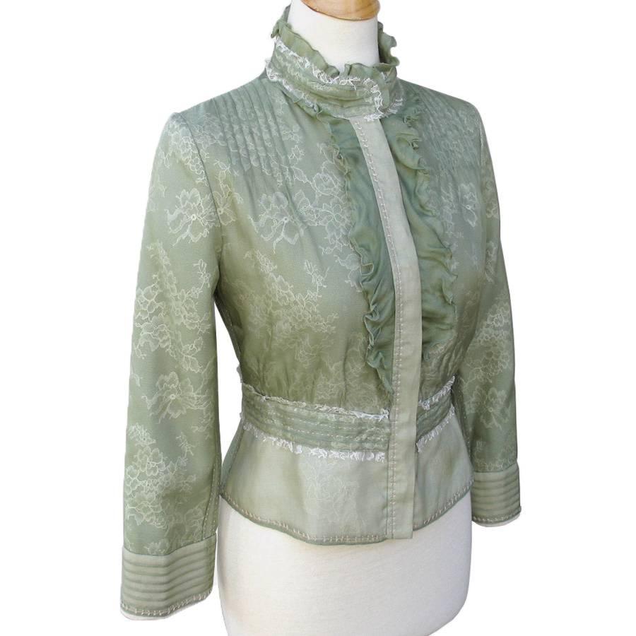 Elie Tahari Lichen Green Lace Silk Organza Peplum