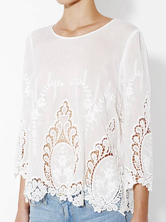 Details about CYNTHIA ROWLEY Vita Dolce White 100% Cotton Embroidered ...