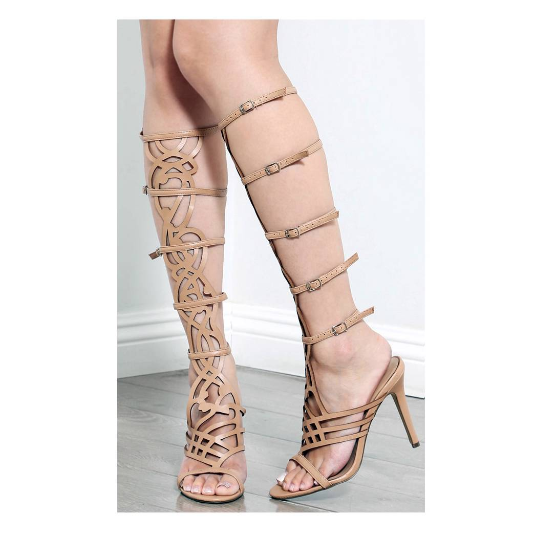 Breckelle s a 36 strappy knee high shaft stiletto heel gladiator