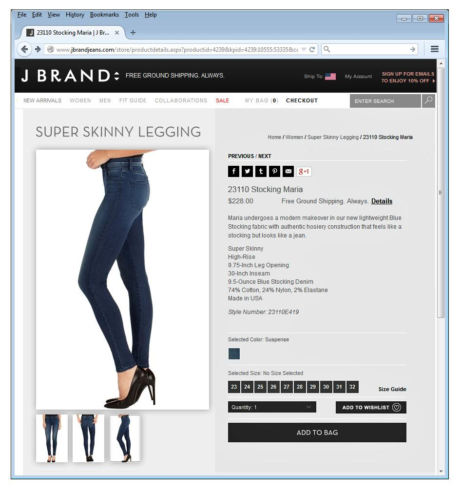 J Brand Jeans Stocking Maria High Rise Skinny Suspense