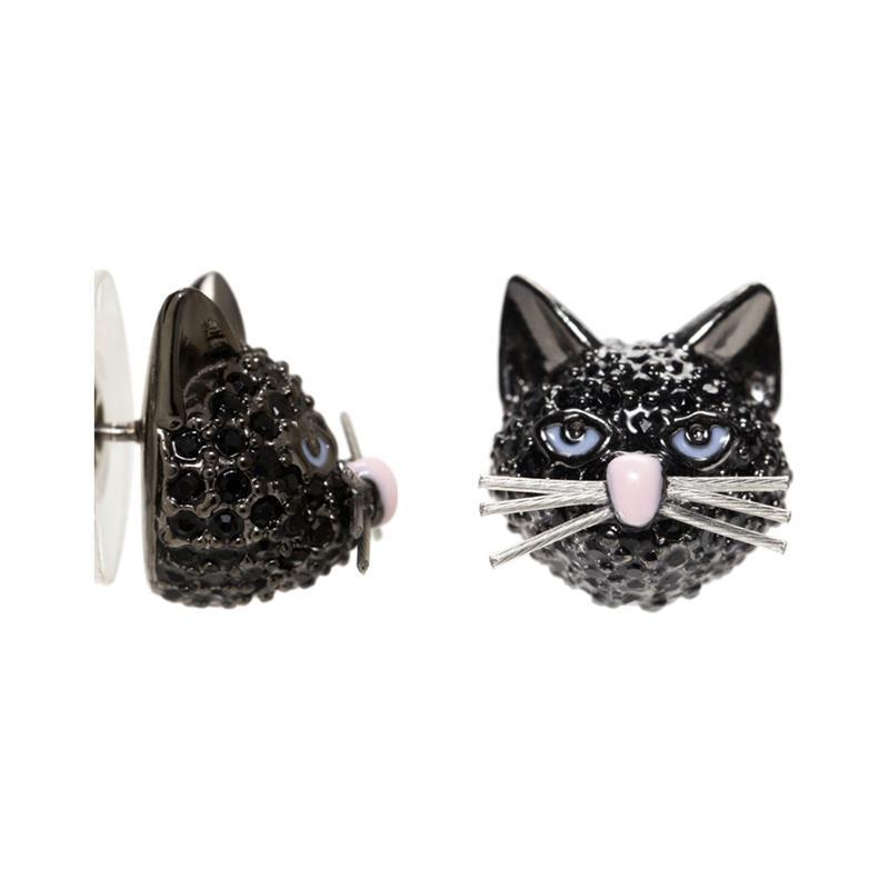 kate spade new york  u2022 cat u2019s meow out of the bag black cat crystal stud earrings
