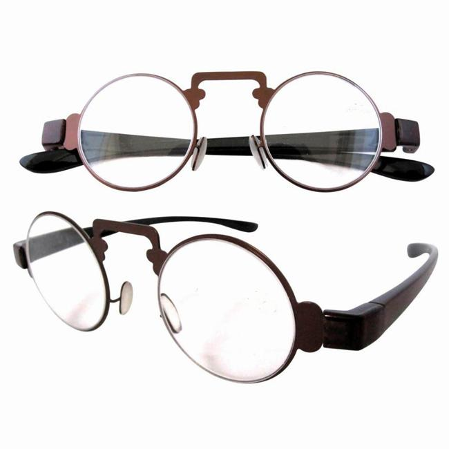 Quirky Glasses Frames : Phileas Quirky Steampunk Brown Sheen Steel Retro Reading ...