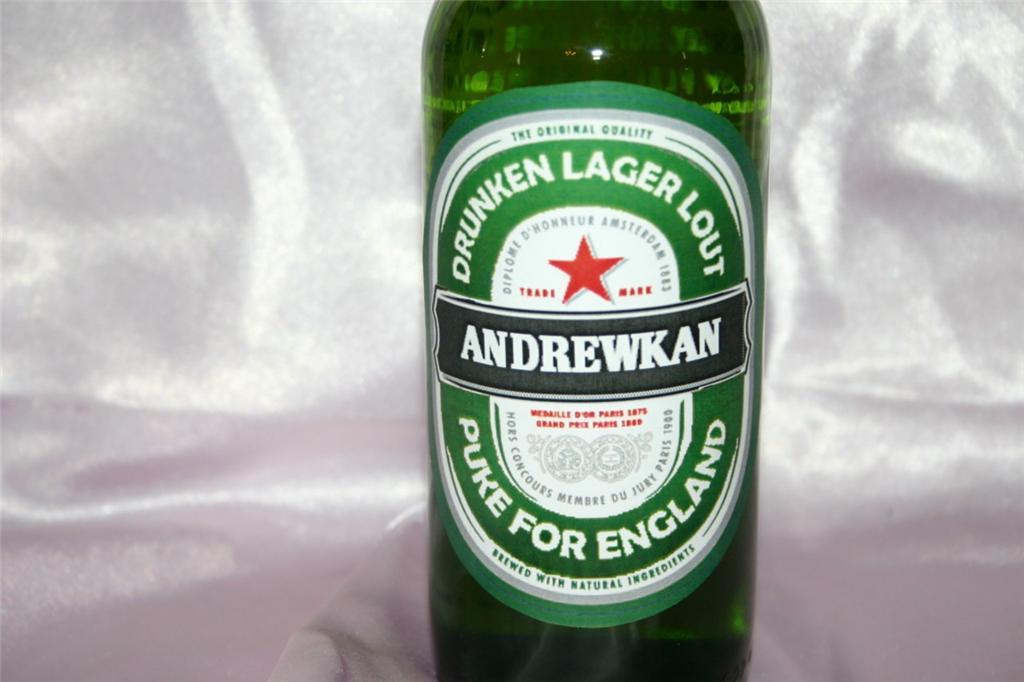 PERSONALISED 6 BEER LABELS Heineken Stella Budweiser Magners