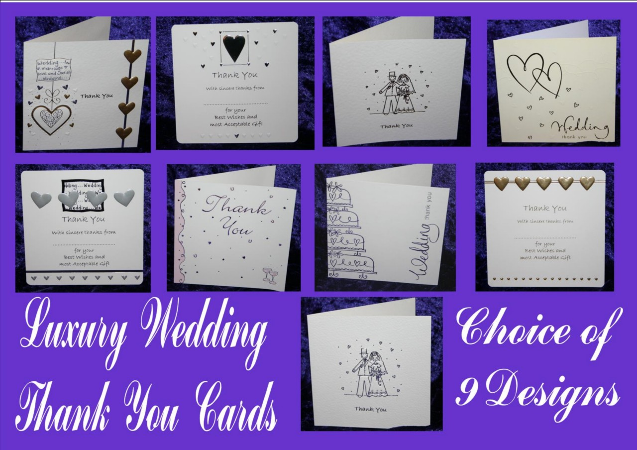 Wedding Gift Thank You Cards Pack : LUXURY-WEDDING-THANK-YOU-for-the-GIFT-CARDS-pack-10-12-silver-gold ...