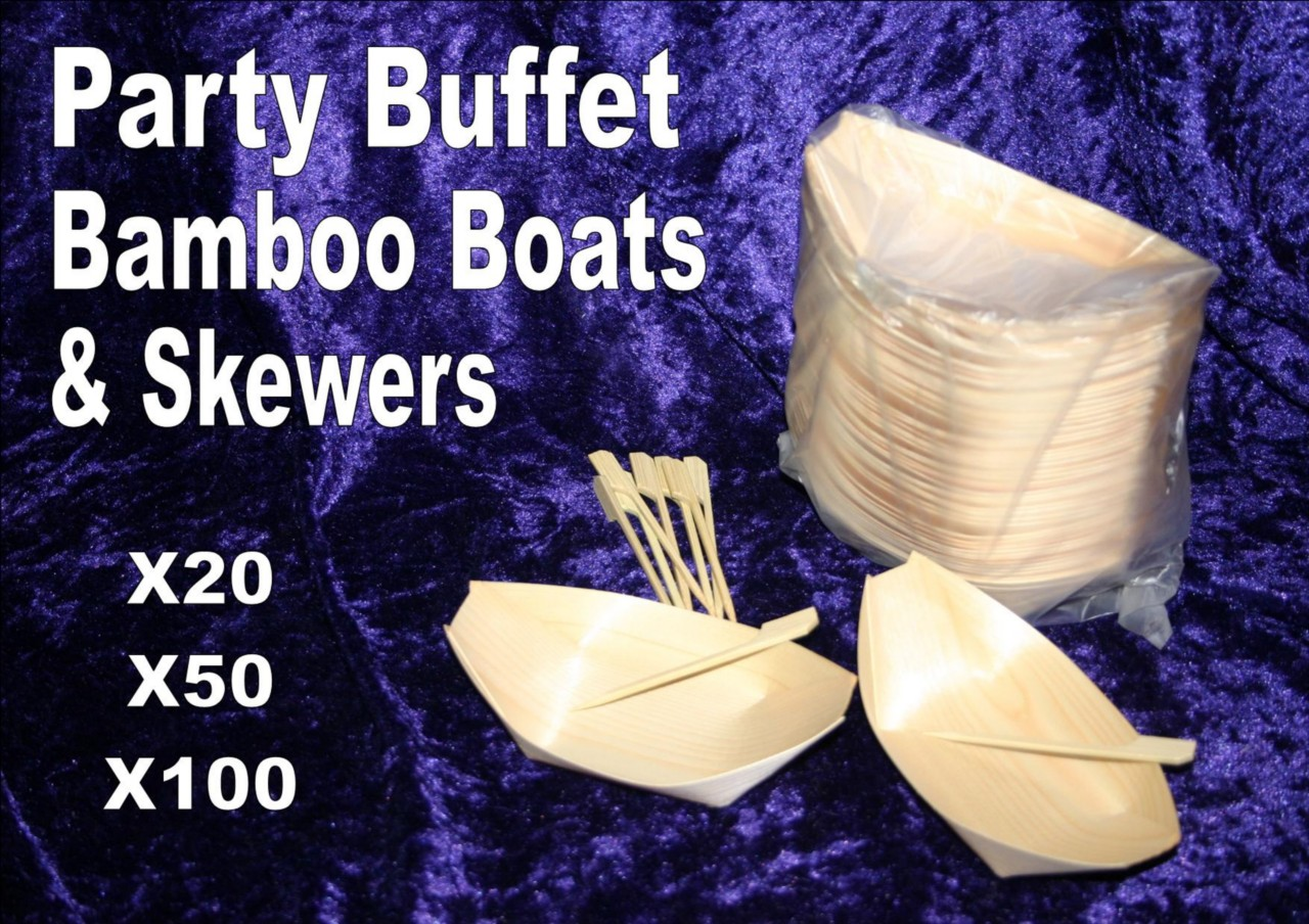 Bamboo boat trays buffet skewer party disposable canape for Bamboo canape boats