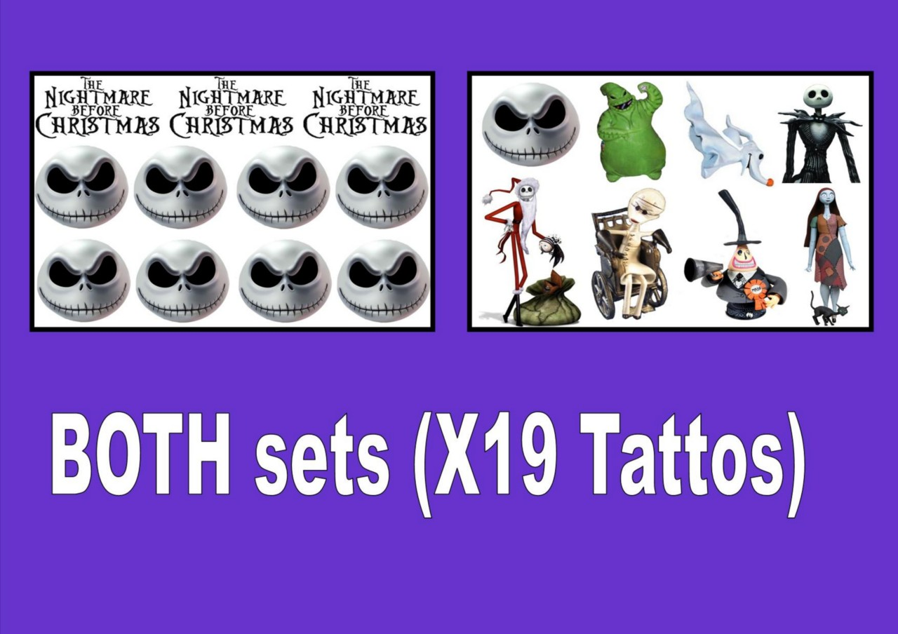 NIGHTMARE BEFORE XMAS TATTOOS canb PERSONALISED LAST1WEEK+ tattoo loot bag party