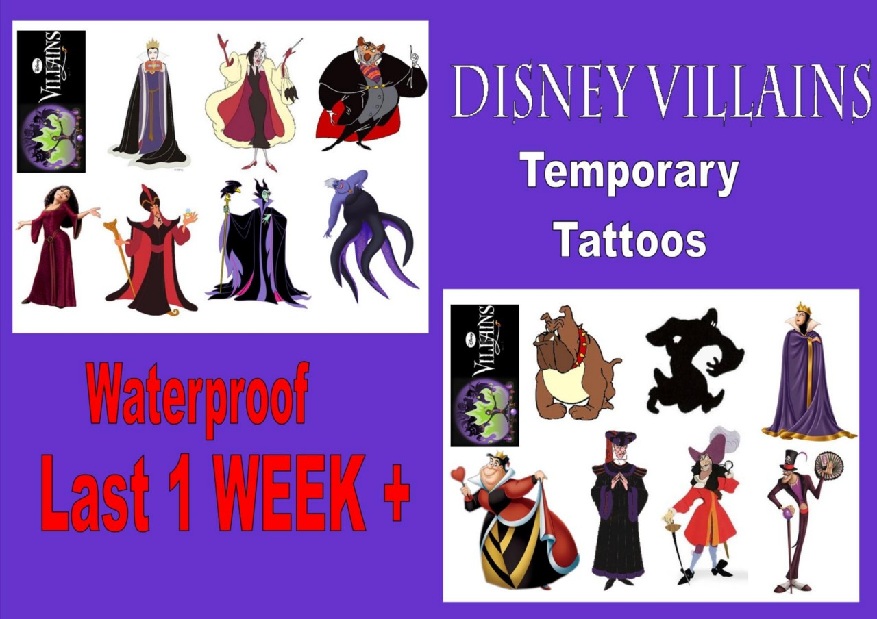Disney villains tattoos 8 16 waterproof last1week tattoo for Disney temporary tattoos