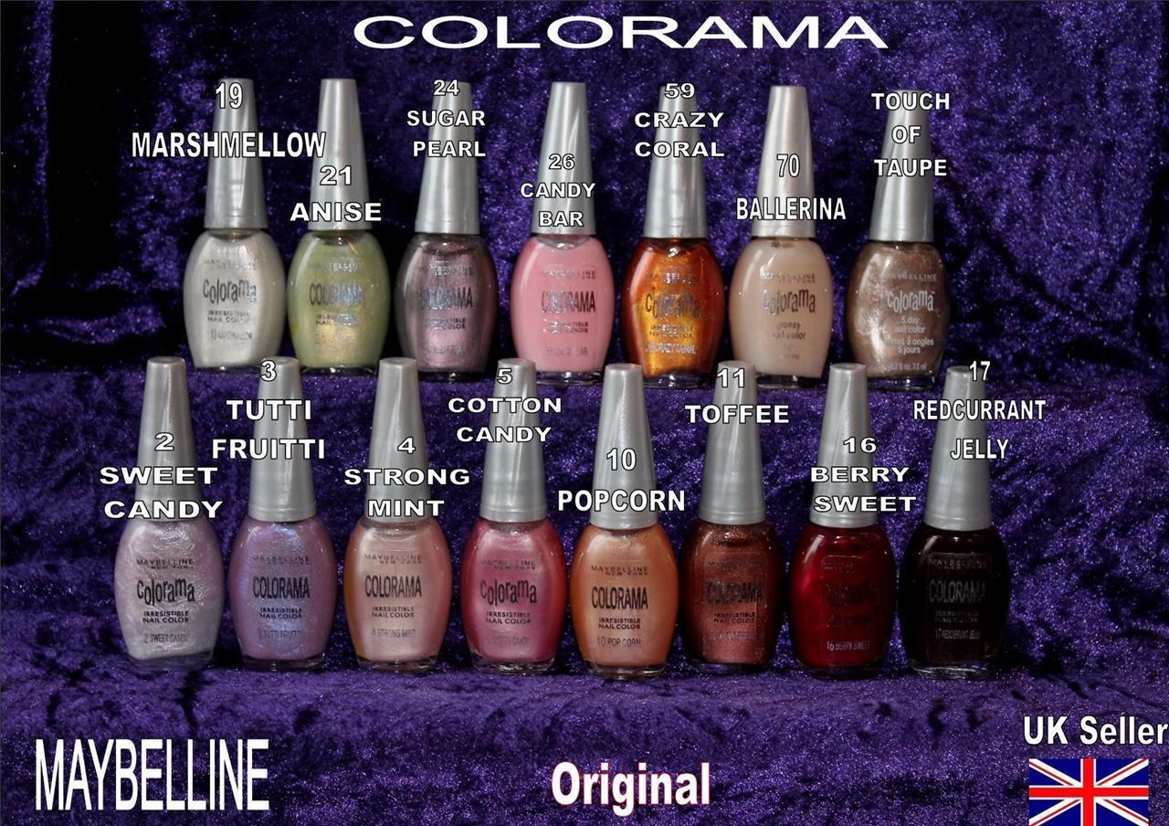 MAYBELLINE COLORAMA nail polish varnish lilac pink brown ...