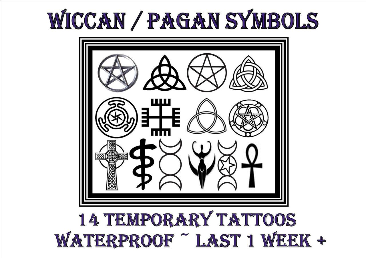 Wiccan pagan witchcraft symbols temporary tattoos for Witch symbols tattoos