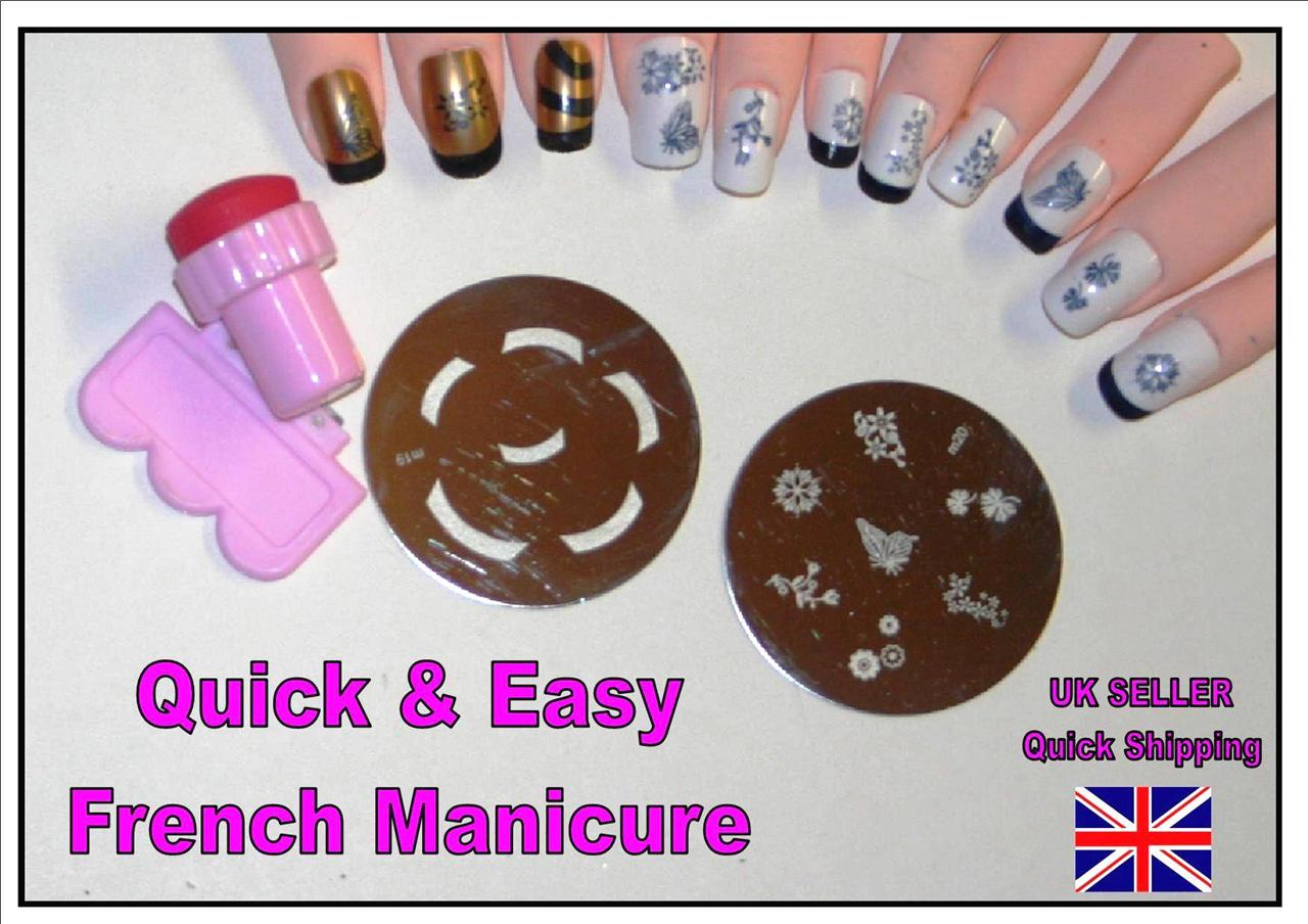 QUICK & EASY FRENCH MANICURE nail art stamping kit plate stamper tips ...