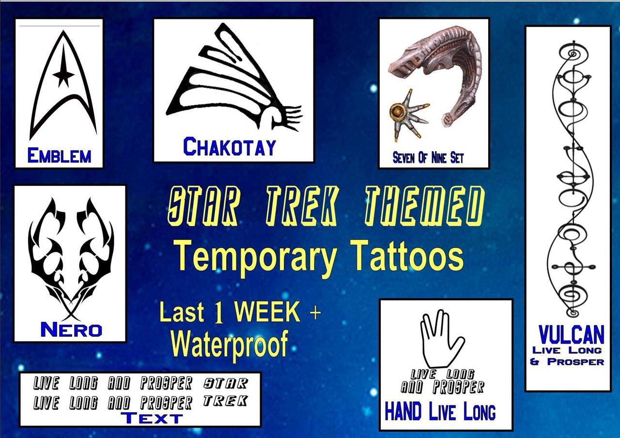 Fancy-Dress-STAR-TREK-themed-temporary-TATTOOS-X4-waterproof-LAST1-WEEK