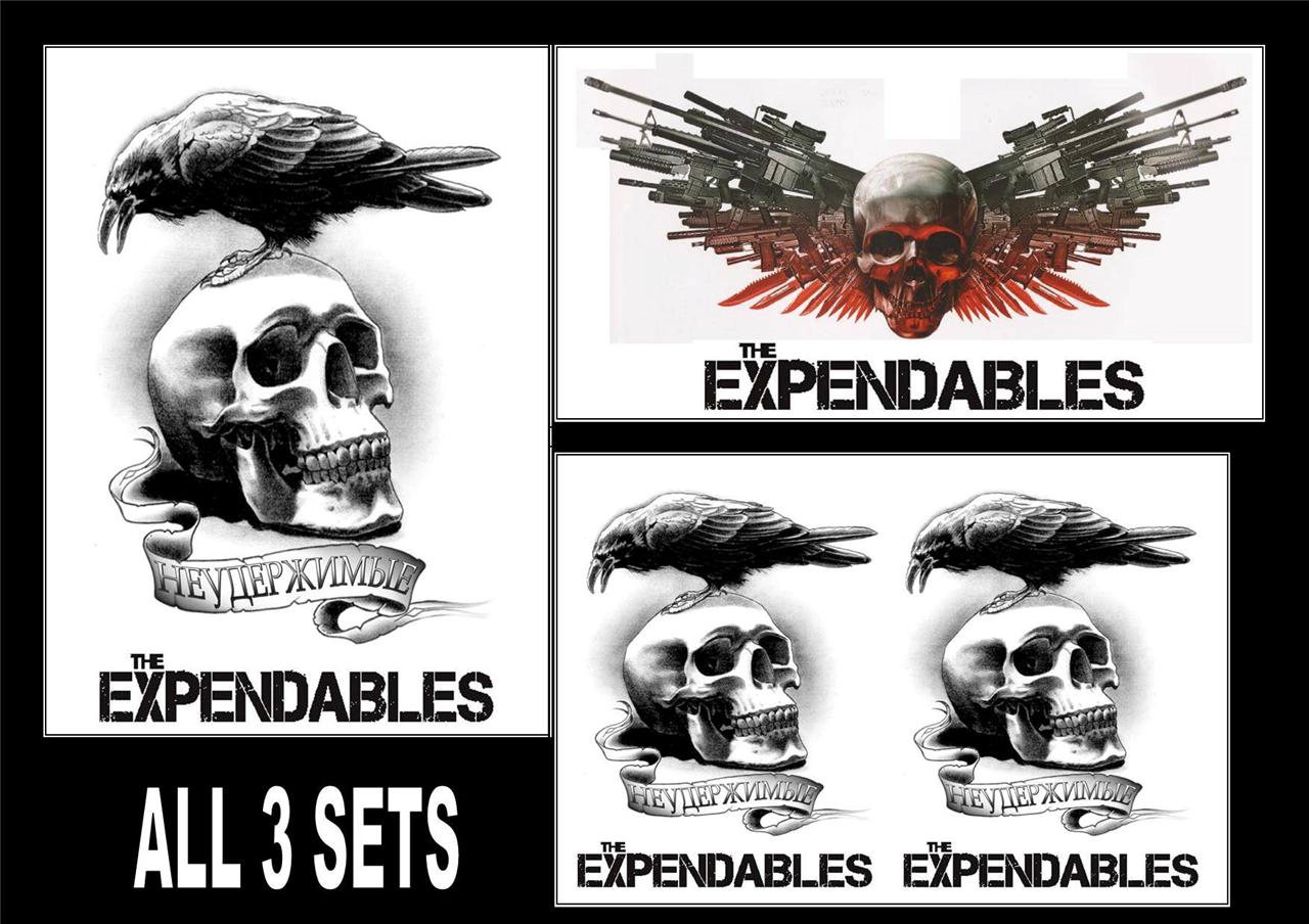 the expendables temporary tattoos large arm forearm back waterproof last1week ebay. Black Bedroom Furniture Sets. Home Design Ideas