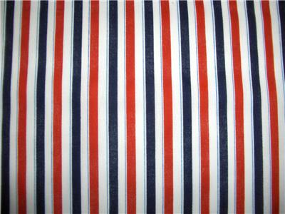 July 4th Patriotic Red White Navy Blue Stripes Cotton