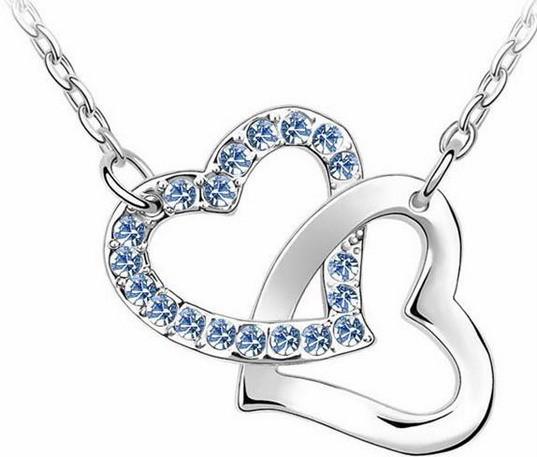 Woman Crystal Romance Heart Love Platinum Plated Valentine Pendant