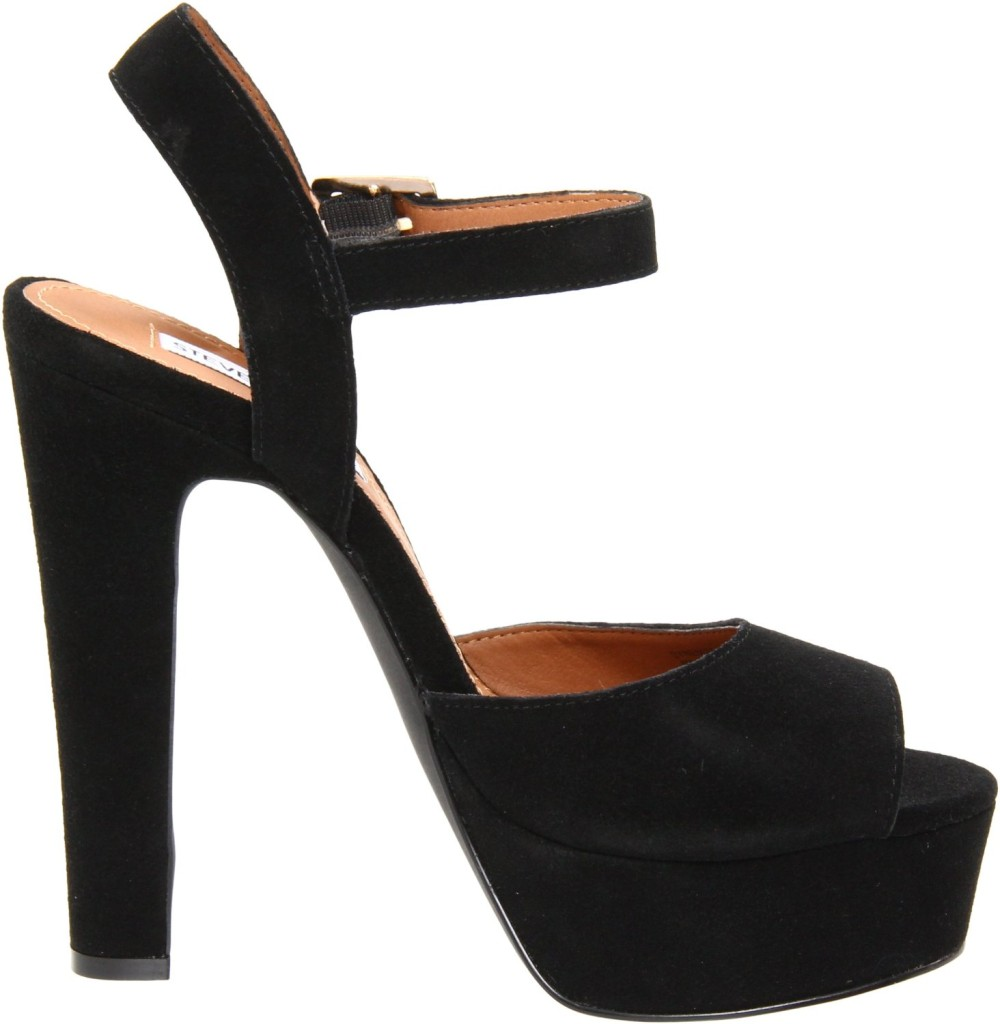 Womens-Shoes-Steve-Madden-DYNEMITE-Platform-Sandal-Heels-Pumps-BLACK-Suede