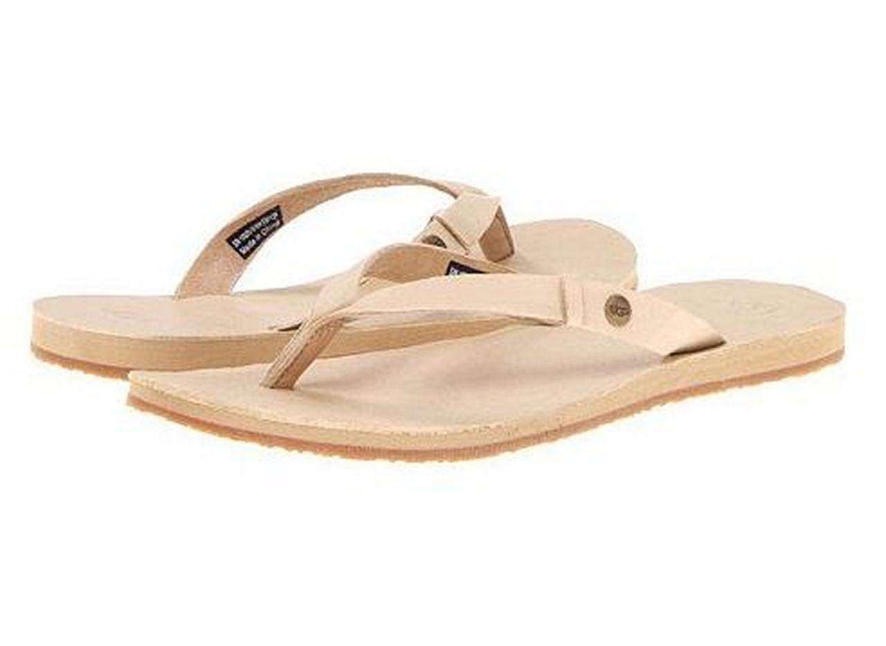womens shoes ugg australia ally thong sandals flip flops leather champagne chmp ebay. Black Bedroom Furniture Sets. Home Design Ideas