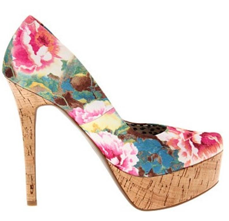 A&A Floral Light Blue Espadrilles Flats Canvas Shoes Alpargatas for Women