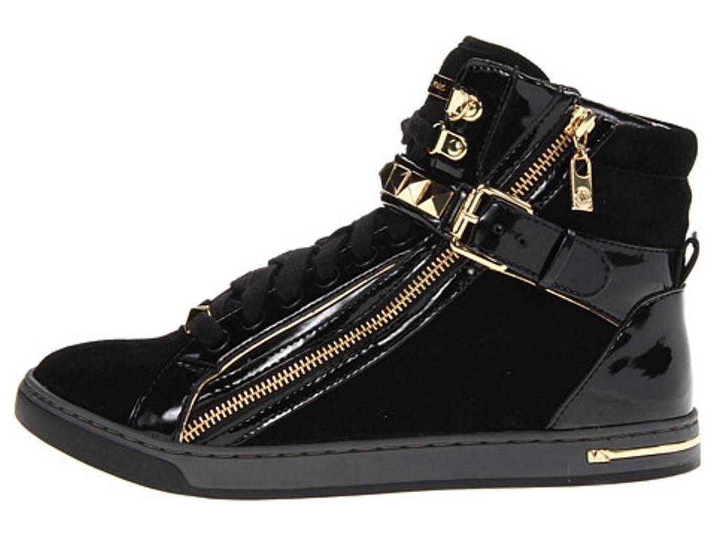 Womens Shoes Michael Kors GLAM STUDDED HIGH TOP Fashion Sneakers Black | EBay