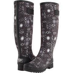 Womens-Shoes-UGG-Australia-MULTI-LOGO-Tall-Rubber-Rain-Boots-Black