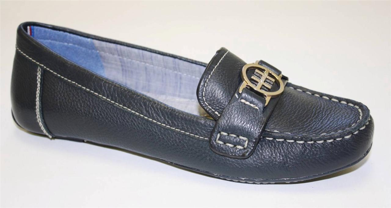 Womenu0026#39;s Shoes Tommy Hilfiger RAELYN Classic Loafers Moccasins Leather Blue Navy | EBay