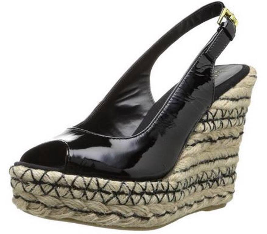 Womens-Shoes-Ralph-Lauren-TALYA-Espadrille-Wedge-Sandals-Patent-Black