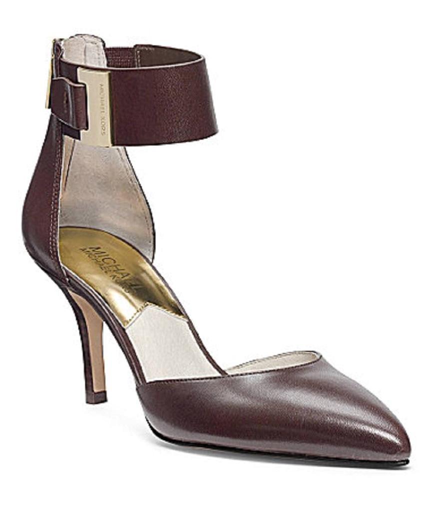 women 39 s shoes michael kors guiliana mid ankle strap pumps. Black Bedroom Furniture Sets. Home Design Ideas