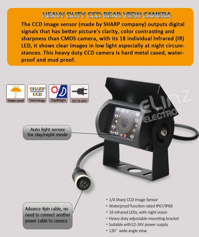 Heavy duty CCD rear view camera