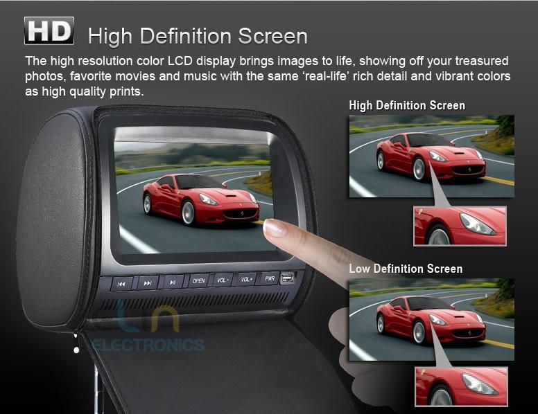 car dvd player headrest high definition screen