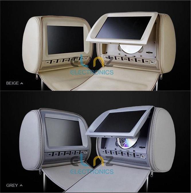 Headrest dvd players beige grey