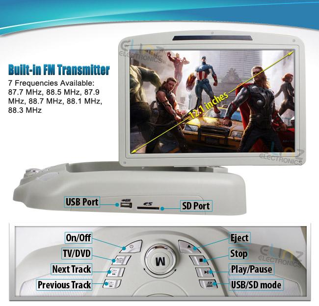 """12.1"""" DVD Player In Car Roof Mount Flip Down Monitor 32"""
