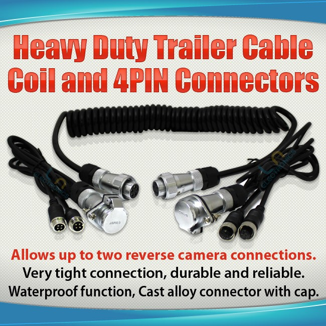 "trailer cable connectors with caption ""allows up to two reverse camera connections"""