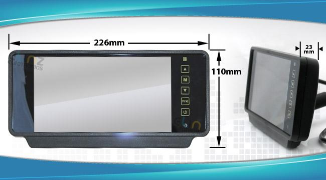 Dimensions of reversing camera R7MI-CARAVANPKG