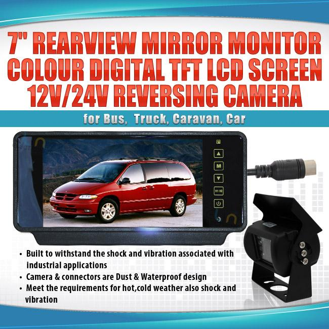 7inch Rearview Mirror Monitor 12V 24V Reversing CCD Camera