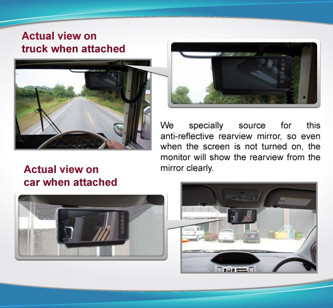 Actual view on rearview reverse camera R7MI-CARAVANPKG