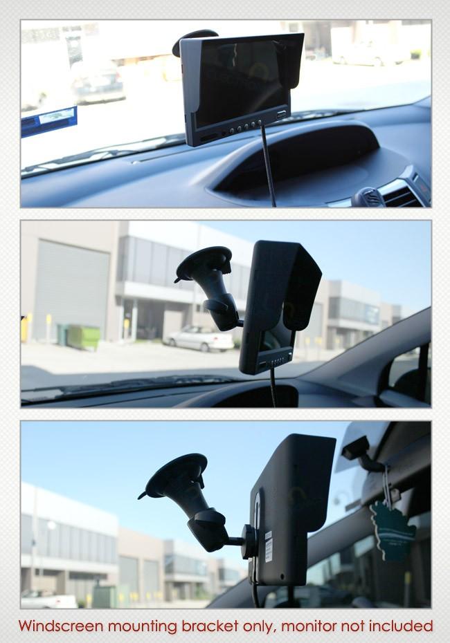 reverse camera monitor mounted on windscreen mount