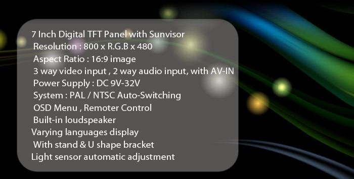 Reversing camera kit monitor specifications