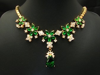 18K Gold Plated Faux Green Emerald Earring Necklace Set