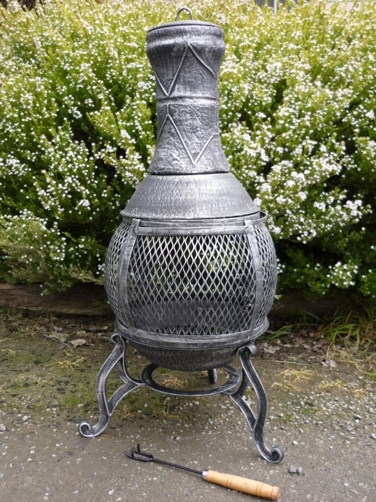 cast iron chiminea pot belly wood heater fire garden patio