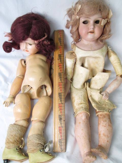 LOT-2-VTG-ARMAND-MARSEILLE-BISQUE-DOLL-370-LEATHER-JOINTED-BODY-GERMANY-PARTS