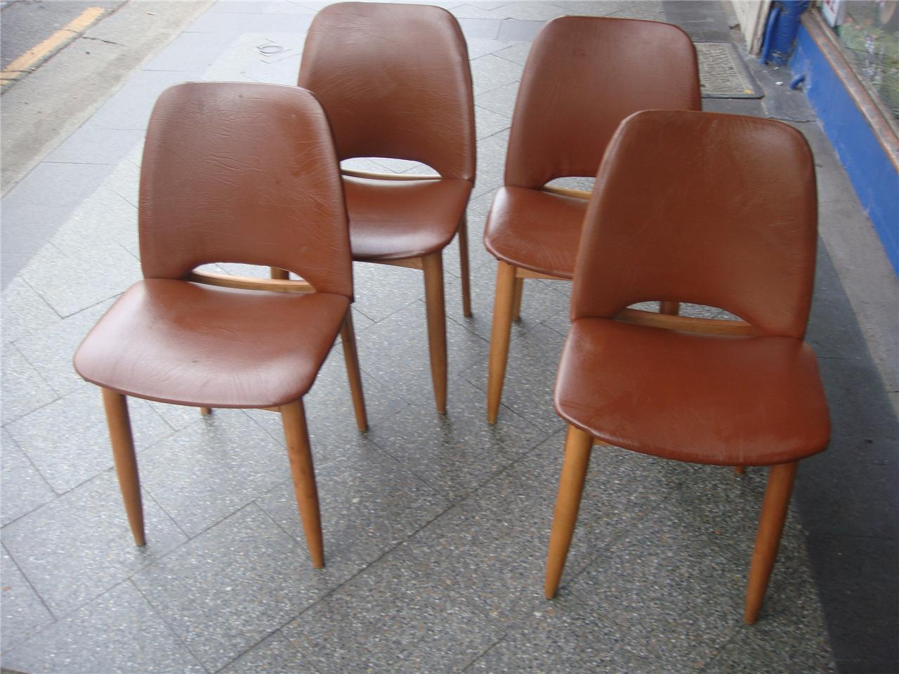 mid century set of 4 teak dining chairs parker danish eames era c