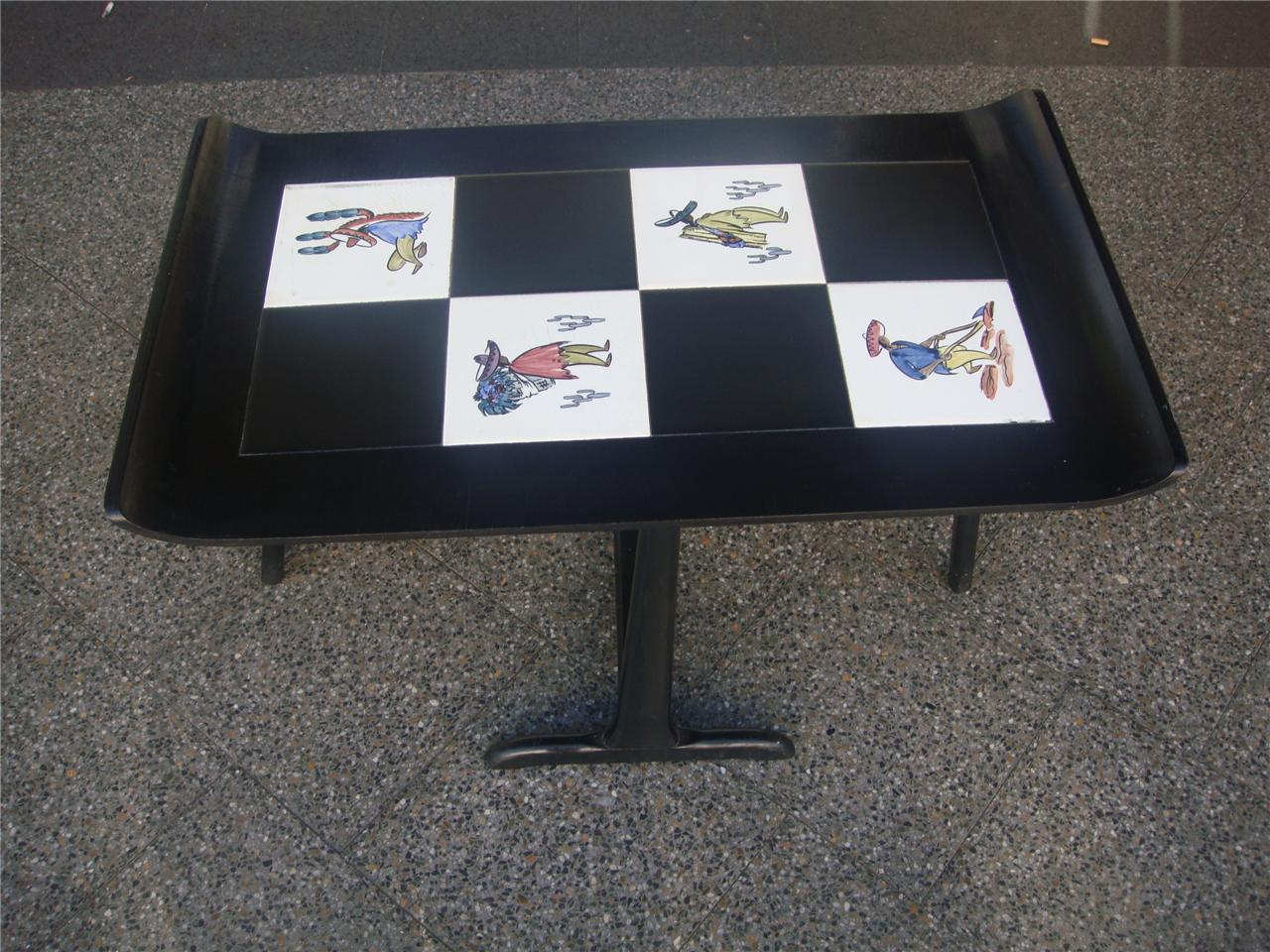 Retro Vintage Black Coffee Table W Hand Painted Design Tiles Fold Up C 1950 39 S Ebay