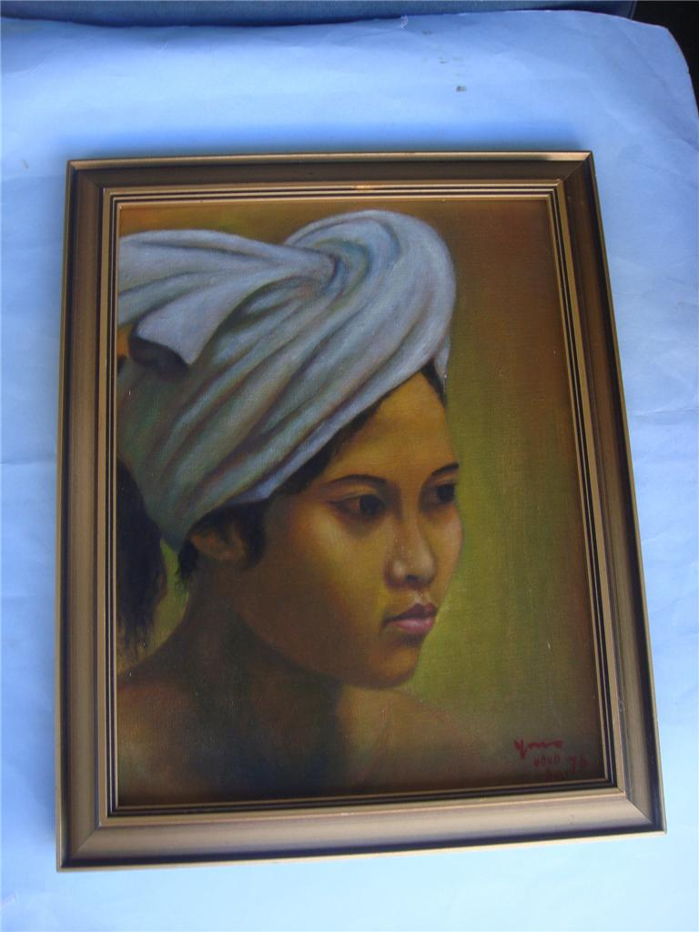 Vintage-Retro-Oil-Painting-of-Balinese-Lady-framed-Signed-C-1976-Retro-Art